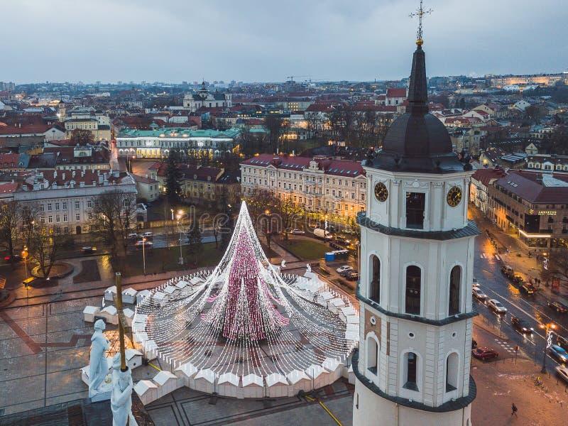 Opinión aérea del abejón del árbol de navidad de Vilna fotos de archivo libres de regalías