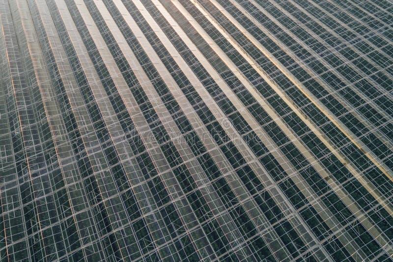 Opinión aérea del abejón sobre casas de cristal modernas grandes imagen de archivo libre de regalías