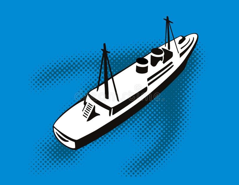 Opinión aérea del carguero stock de ilustración