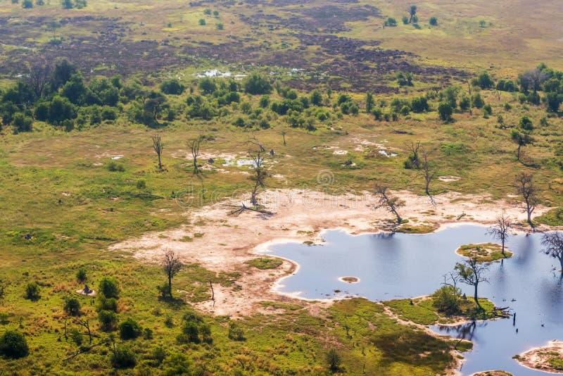 Opinión aérea del delta de Okavango fotografía de archivo libre de regalías