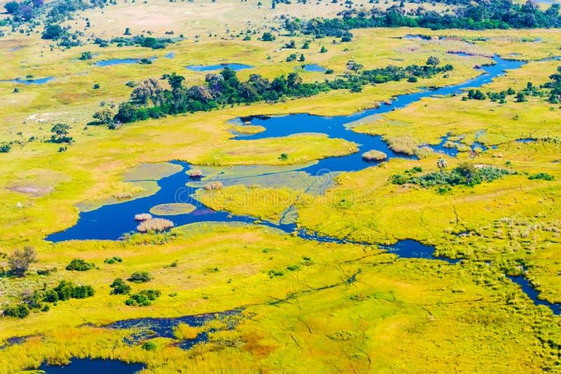 Opinión aérea del delta de Okavango fotos de archivo libres de regalías