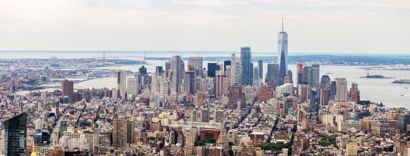 Opinión aérea del horizonte del Lower Manhattan, NYC, los E.E.U.U. fotografía de archivo libre de regalías