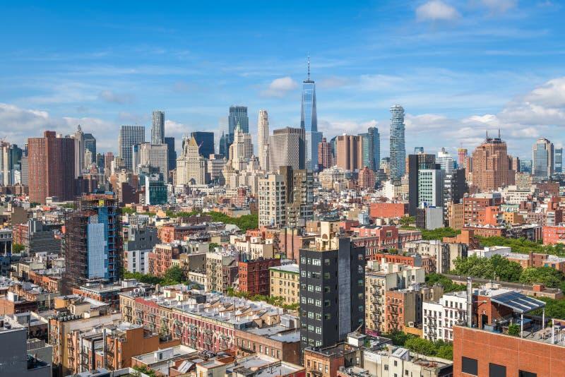 Opinión aérea del Lower Manhattan fotos de archivo libres de regalías