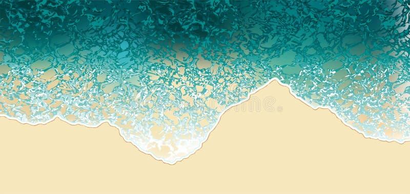 Opinión aérea del mar, ejemplo del vector del fondo de la naturaleza de la opinión superior de las olas oceánicas libre illustration