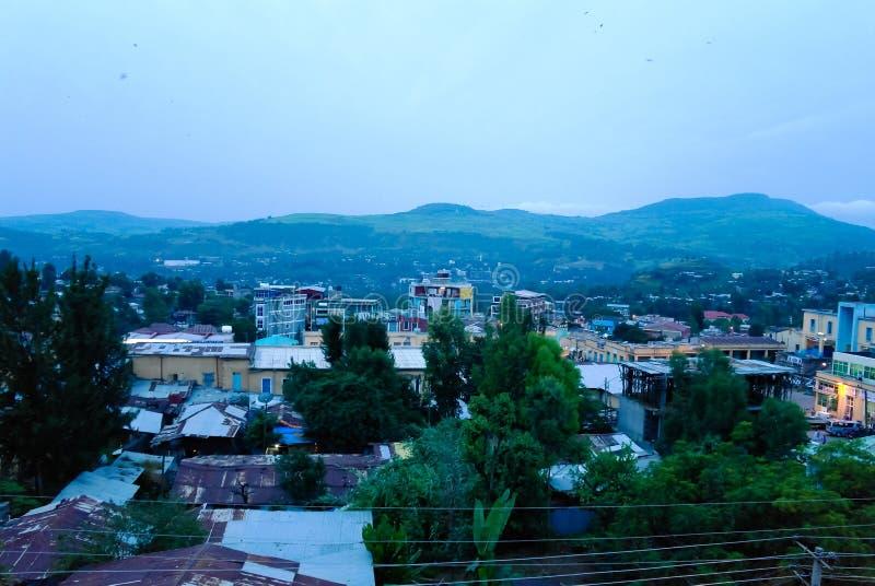 Opinión aérea del paisaje urbano a la ciudad de Gondar, Etiopía foto de archivo libre de regalías