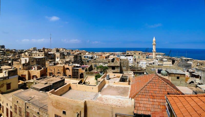 Opinión aérea del paisaje urbano del panorama a Sidon, Líbano fotos de archivo libres de regalías