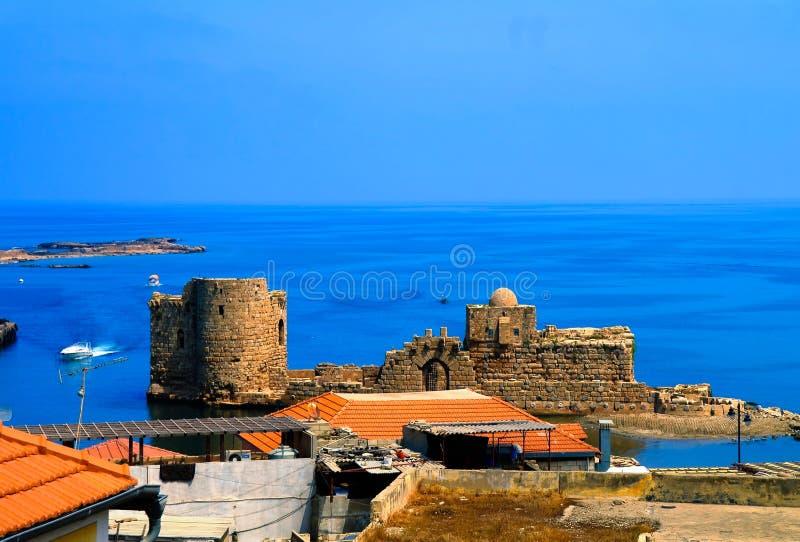 Opinión aérea del paisaje urbano del panorama a Sidon, Líbano imagen de archivo libre de regalías