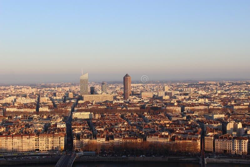 Opinión aérea del panorama de Lyon imagen de archivo