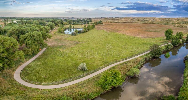 Opinión aérea del rastro del río de Poudre foto de archivo libre de regalías