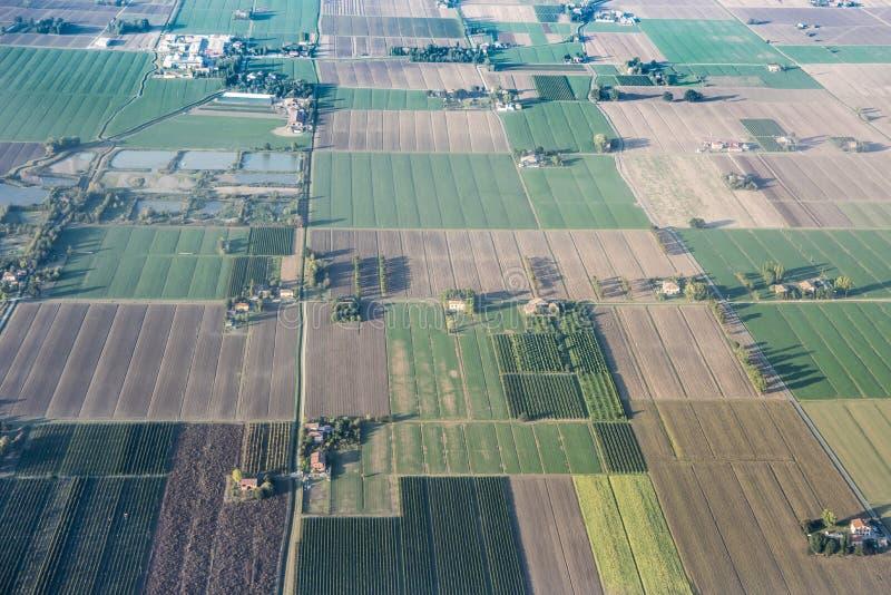 Opinión aérea del valle del Po, Italia fotos de archivo libres de regalías