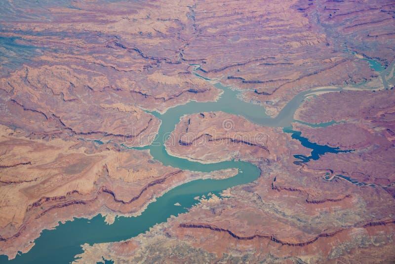 Opinión aérea Glen Canyon National Recreation Are hermoso imágenes de archivo libres de regalías