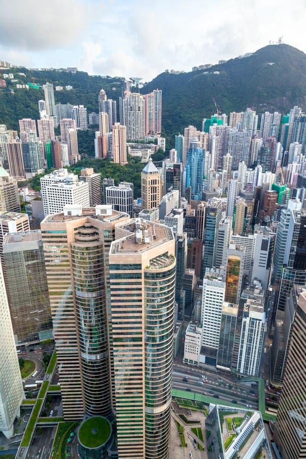 Opinión aérea Hong Kong Central Financial District imagen de archivo