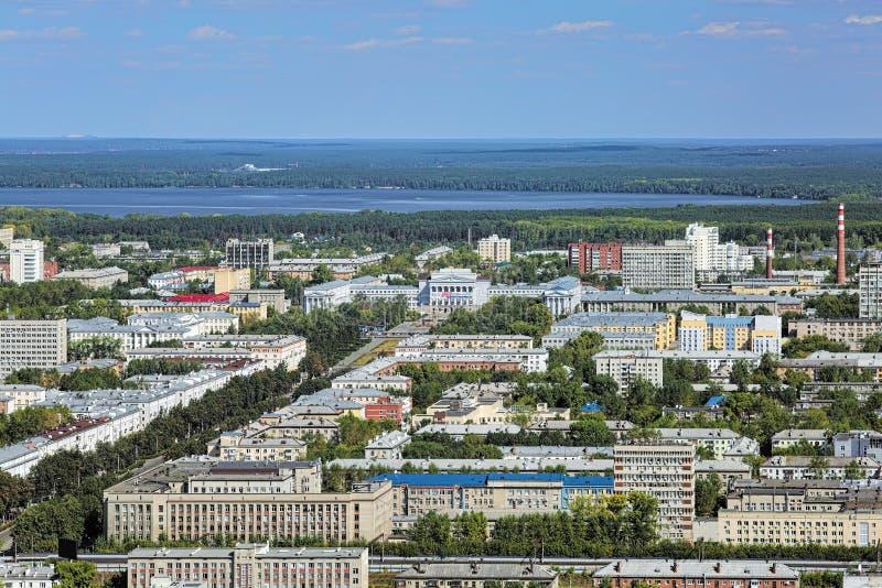 Opinión aérea la zona este de Ekaterimburgo, Rusia imagen de archivo libre de regalías