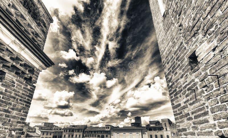 Opinión aérea maravillosa Piazza del Campo, Siena en un hermoso imagen de archivo
