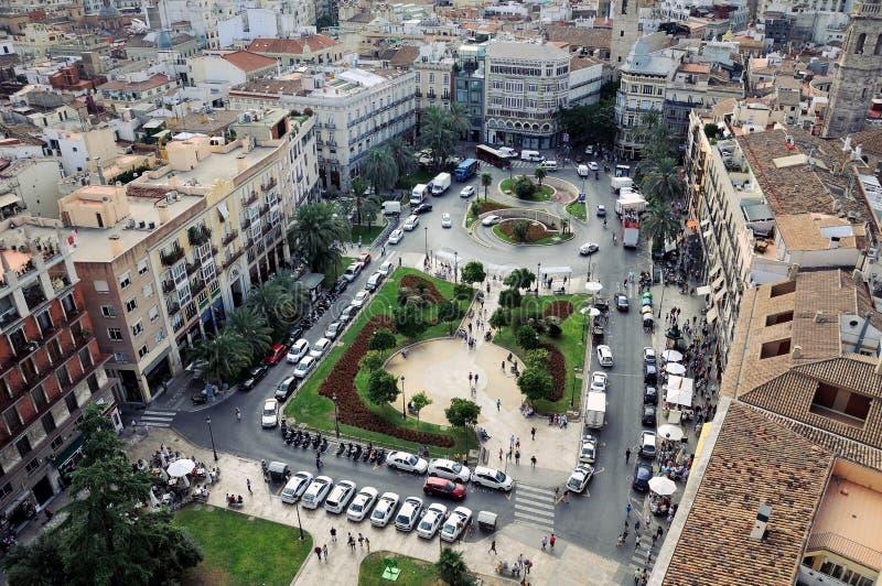 Opinión aérea Plaza de la Reina en Valencia foto de archivo
