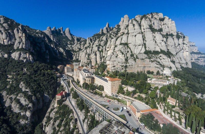 Opinión aérea Santa Maria de Montserrat Abbey foto de archivo libre de regalías