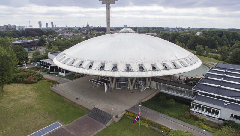 Opinión aérea sobre el Evoluon en Eindhoven foto de archivo libre de regalías