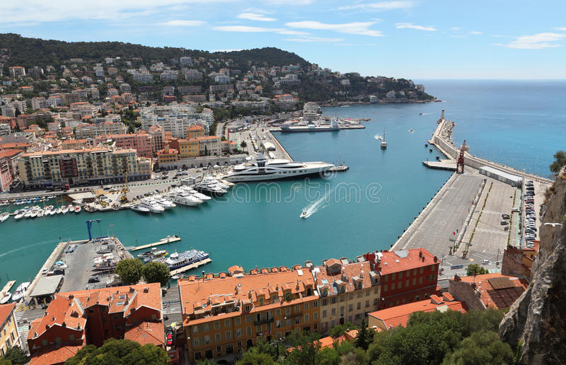 Opinión aérea sobre el puerto Niza y de lujo de yates, riviera francesa, Francia d'Azur del corral fotos de archivo libres de regalías