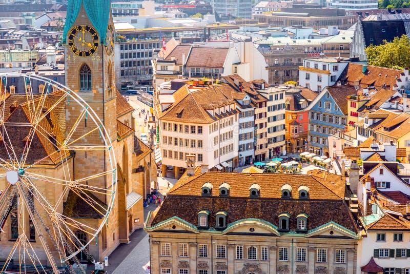 Opinión aérea sobre la ciudad de Zurich en Suiza foto de archivo libre de regalías