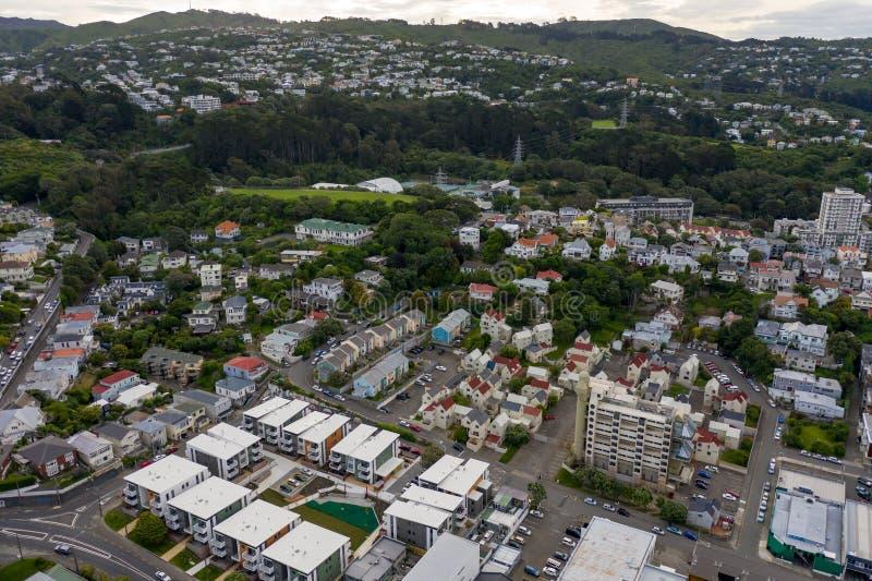 Opinión aérea Te Aro, Wellington New Zealand foto de archivo