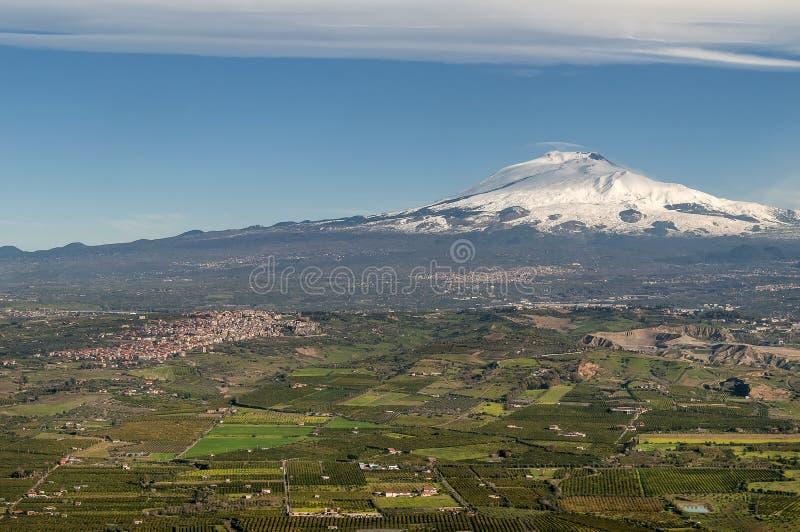 Opinión aérea Volcano Etna, Sicilia, Italia fotografía de archivo