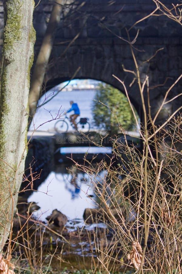 Opinión abstracta el ciclista, Stanley Park, Vancouver A.C., fotos de archivo libres de regalías