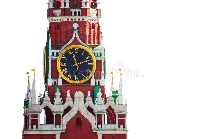 Opinión aislada del reloj del Kremlin sobre el fondo blanco imagen de archivo libre de regalías