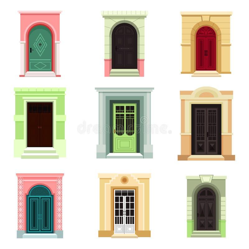 Opinión al aire libre sobre las puertas o la entrada clásicas, salida ilustración del vector