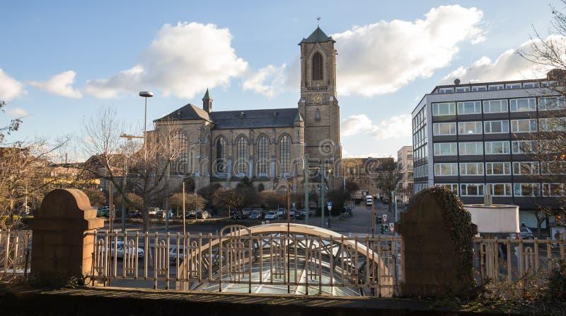 Opinión Alemania de la ciudad de Neuss fotografía de archivo libre de regalías