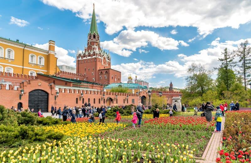 Opinión Alexander Garden en la primavera, Moscú fotos de archivo