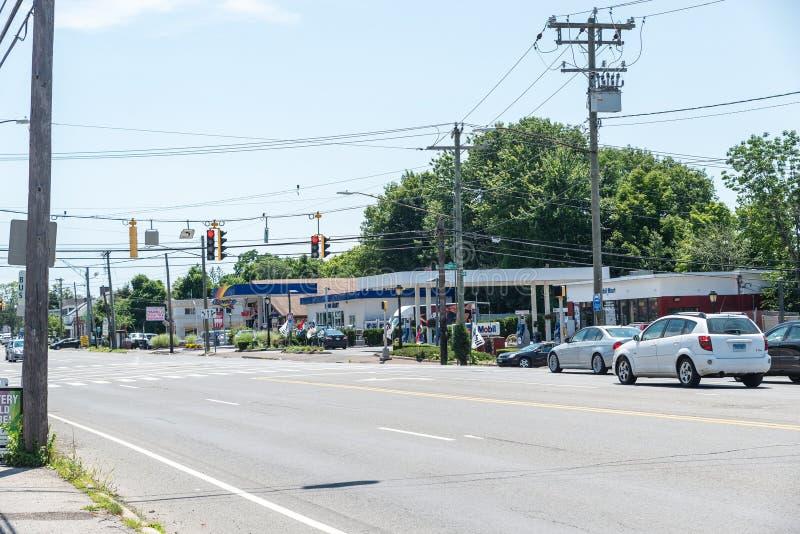 Opinión alto Ridge Road en Stamford, CT fotos de archivo libres de regalías