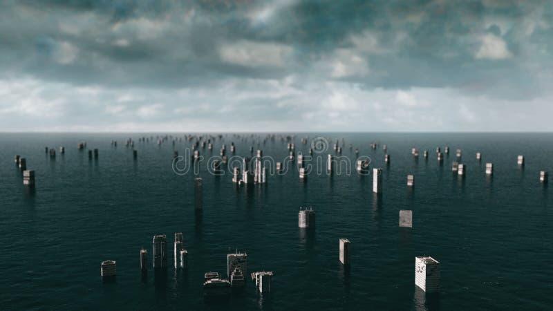 Opinión apocalíptica del agua inundación urbana tormenta 3d rinden fotografía de archivo libre de regalías