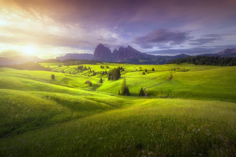Opinión asombrosa de los paisajes de colinas verdes con el cielo azul del verano en la salida del sol de las dolomías de Seiser A fotografía de archivo libre de regalías