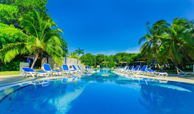 Opinión asombrosa los argumentos del hotel con la piscina de invitación agradable y la gente en fondo en jardín tropical fotos de archivo