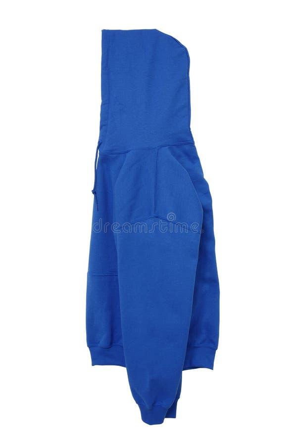 Opinión azul de brazo lateral del color en blanco del suéter con capucha imagen de archivo