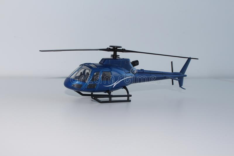 Opinión azul de Toy Helicopter Front Left Side imagen de archivo