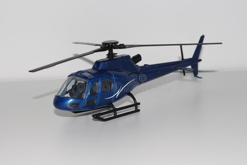 Opinión azul de Toy Helicopter Front Left Side fotos de archivo libres de regalías