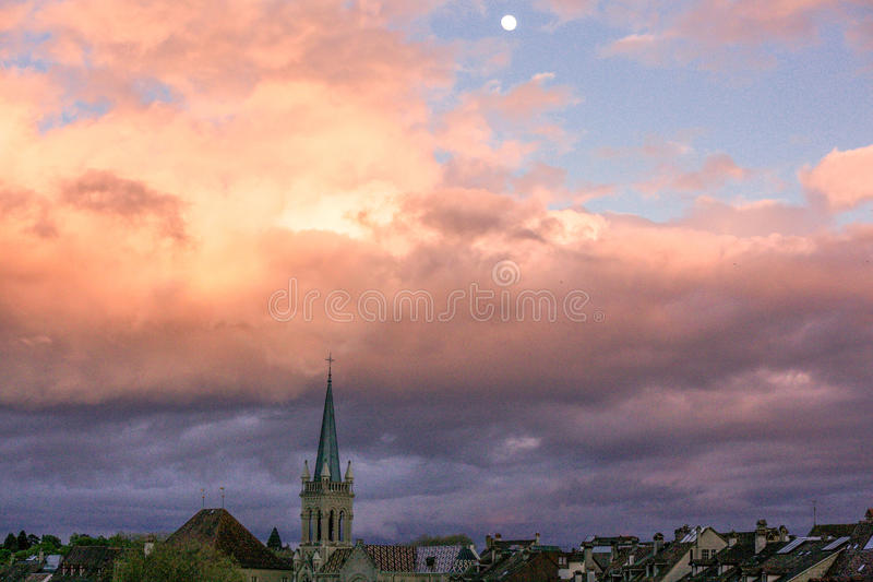 Opinión Bern City, Suiza del cielo fotos de archivo libres de regalías