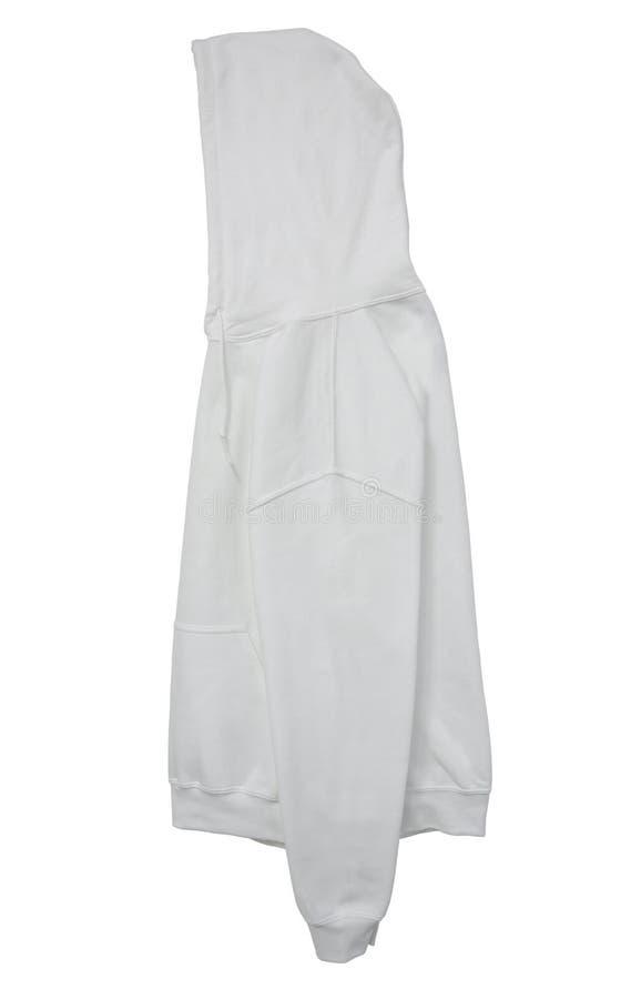 Opinión blanca de brazo lateral del color en blanco del suéter con capucha foto de archivo libre de regalías