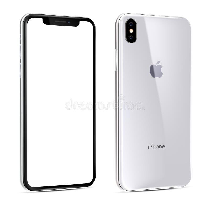 Opinión blanca de Xs del nuevo iPhone en ángulo stock de ilustración