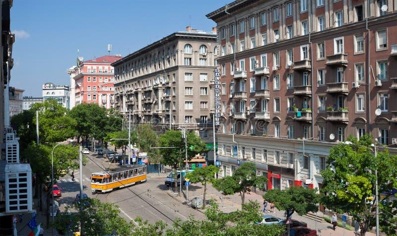 Opinión Bulgaria de la calle de Sofía fotos de archivo libres de regalías