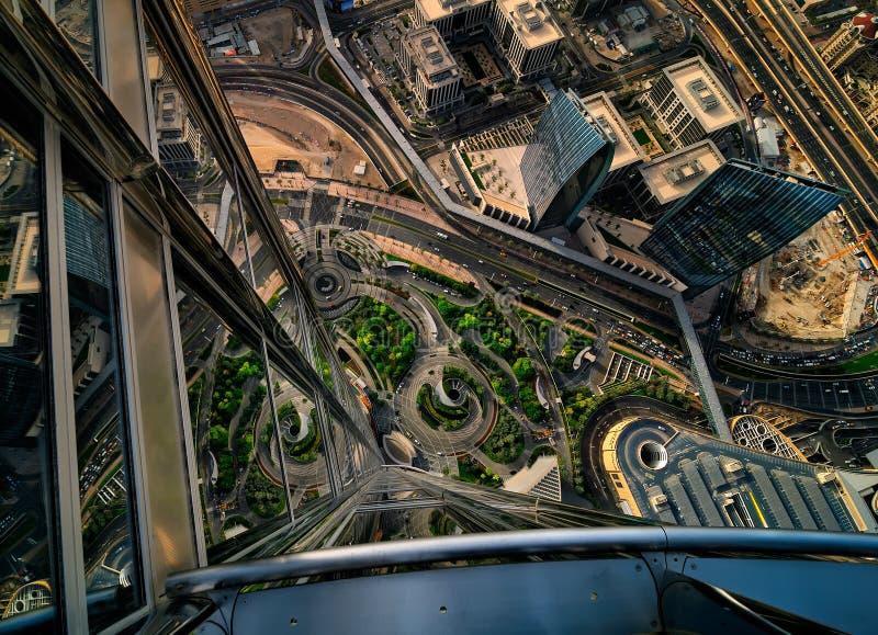 Opinión céntrica de Dubai por la puesta del sol, Dubai, United Arab Emirates foto de archivo libre de regalías