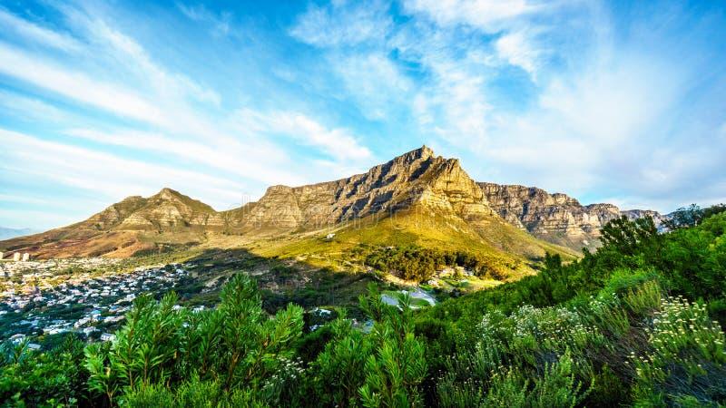 Opinión Cape Town, la montaña de la tabla, el pico de los diablos y los doce apóstoles fotos de archivo