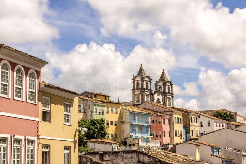 Opinión colonial de la arquitectura de la ciudad de Salvador en Bahia Brazil fotografía de archivo