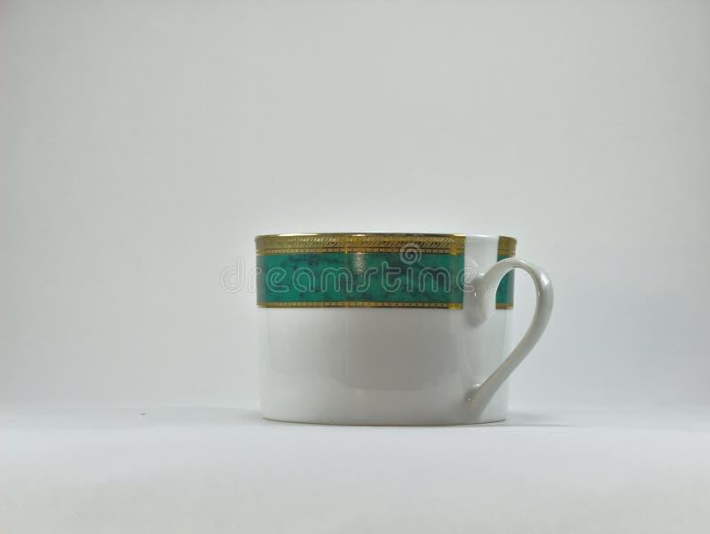 Opinión correcta verde y blanca 3164 de la taza de té foto de archivo libre de regalías