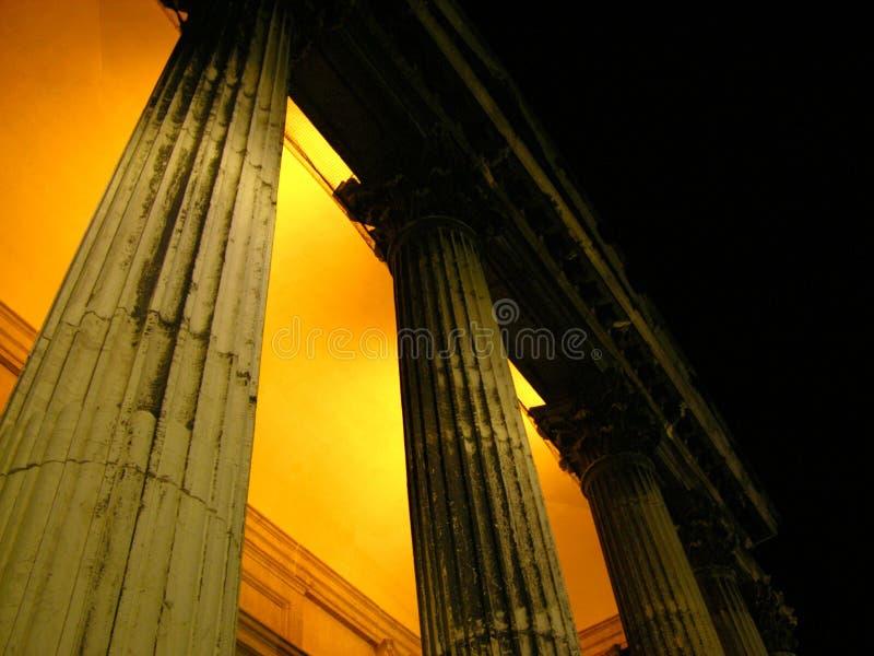 Opinión dórica Venecia de la noche de las columnas fotografía de archivo