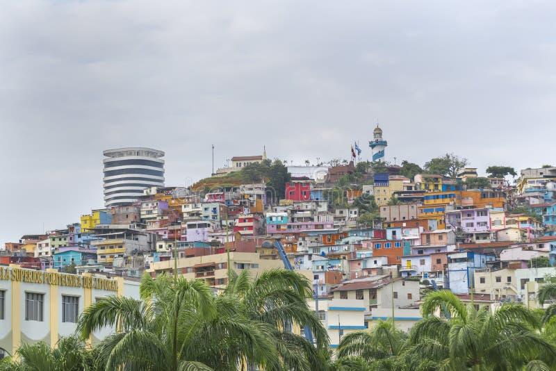 Opinión de ángulo bajo de Cerro Santa Ana en Guayaquil Ecuador imágenes de archivo libres de regalías