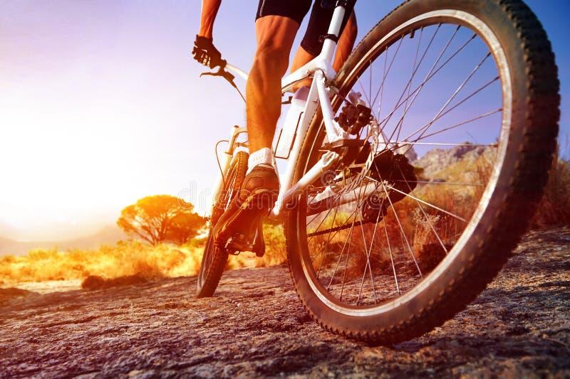 Hombre de la bici de Moutain imagen de archivo libre de regalías
