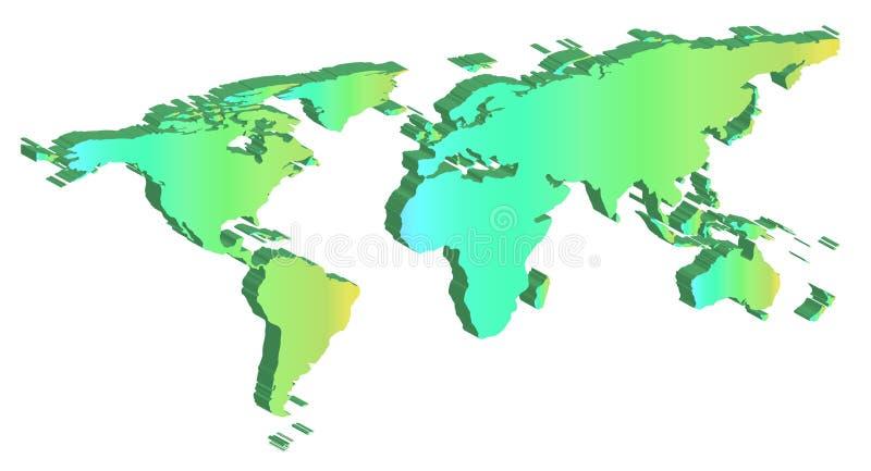 Opinión de ángulo blanca plana de la silueta del mapa del mundo ilustración del vector