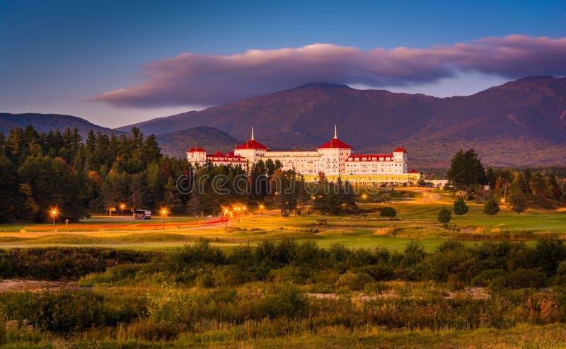 Opinión de última tarde del soporte Washington Hotel en Bretton Woods fotos de archivo libres de regalías